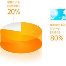 肌に起きてくるトラブルの原因は、20%が加齢によるダメージで、80%は紫外線によるダメージ